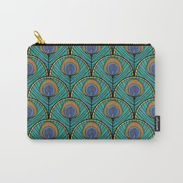 Glitzy Peacock Feathers Carry-All Pouch
