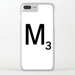 Letter M - Custom Scrabble Letter Tile Art - Scrabble M Initial Clear iPhone Case