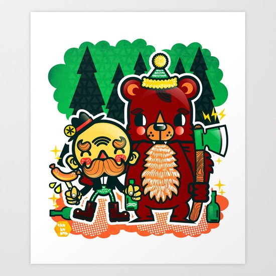 Lumberjack and Friend Art Print