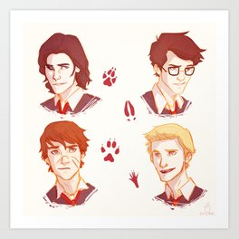 Mooney, Wormtail, Padfoot, and Prongs Art Print