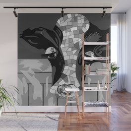 Gray Patchwork Cow Wall Mural
