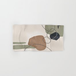 Linkedin Abstract in Sage Green, Cinnamon and Charcoal Grey Hand & Bath Towel