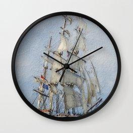 Clipper Ship Three Masted Sails Wall Clock