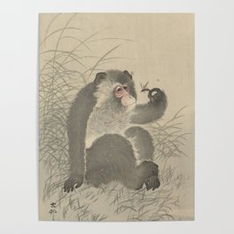 Monkey with insect - Ohara Koson (1900 - 1930) Poster