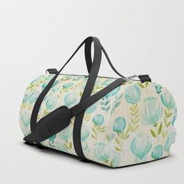 Watercolor Floral Vintage Aqua Blossoms, Hand painted Flowers, Farmhouse Floral Duffle Bag