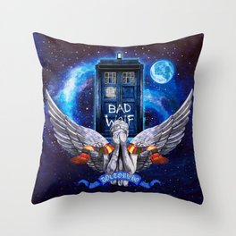 The Angel with Tardis Throw Pillow