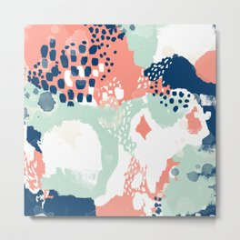 Kayl - abstract painting minimal coral mint navy color palette boho hipster decor nursery Metal Print