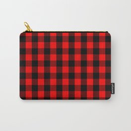 Classic Red and Black Buffalo Check Plaid Tartan Carry-All Pouch
