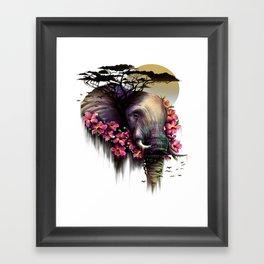 Colorful Elephant Tribal Fantasy African Animal Framed Art Print
