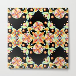 Suzani Stripe Pattern Metal Print