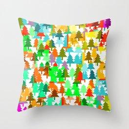 Colorful fir pattern Throw Pillow