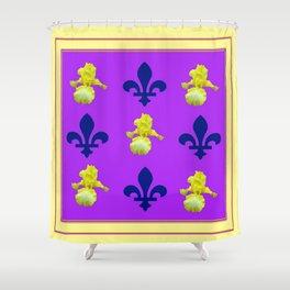 Purple Fleur De Lys Yellow Iris Pattern Art Shower Curtain