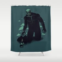 titan Shower Curtains featuring shadow of the titan by Louis Roskosch