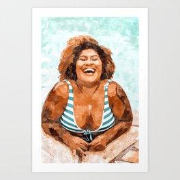 Curvy & Happy #painting #illustration Art Print
