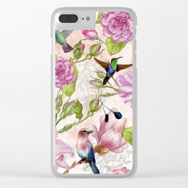 Vintage Roses and Hummingbird Pattern Clear iPhone Case