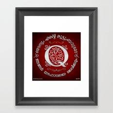 Joshua 24:15 - (Silver on Red) Monogram Q Framed Art Print