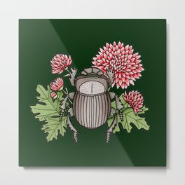 Beetle with Chrysanthemum - Dark Green Metal Print