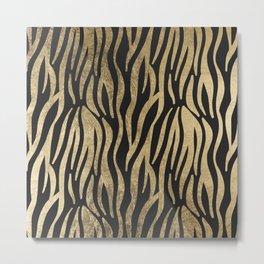 Modern elegant black faux gold trendy zebra animal print Metal Print