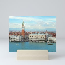 panoramic aerial view of venice cityscape showing san marco and boats in the sea Mini Art Print