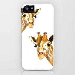 Giraffe Watercolor Painting iPhone Case