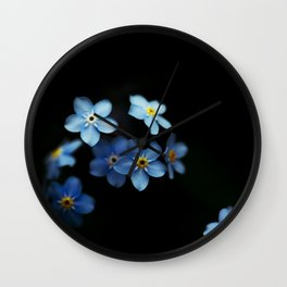 Forget Me Nots on Black Wall Clock