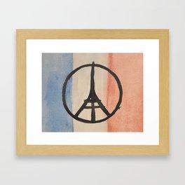 Paris Peace Symbol Eiffel Tower French Tricolor Framed Art Print