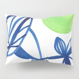 Navy blue and lime green abstract leaves Pillow Sham