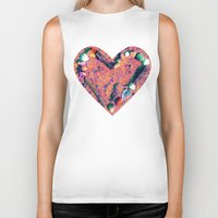 west coast Biker Tanks featuring West Coast Heart by Angela Pesic