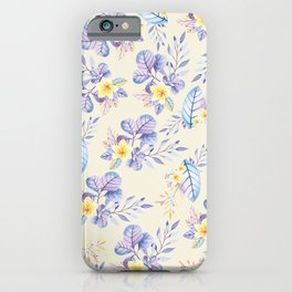 Lavender yellow purple watercolor modern floral iPhone Case
