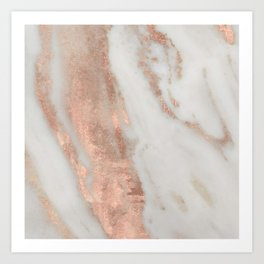 Marble Rose Gold Shimmery Marble Art Print