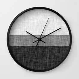 Black and White Graphic Burlap Pattern Stripe Wall Clock