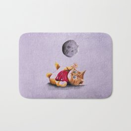 Baby Cat Playing with Moon Bath Mat