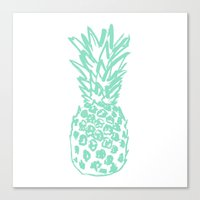 pinapple Canvas Prints featuring Pineapple by Victoria Giralt