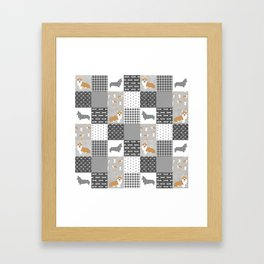 Corgi Patchwork Print - grey, dog, buffalo plaid, plaid, mens corgi dog Framed Art Print