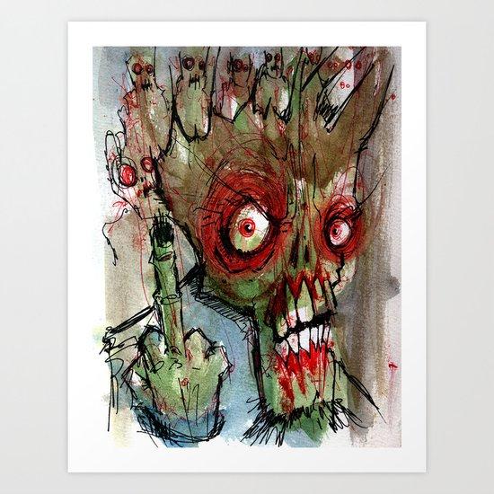 zombie flips the bird Art Print