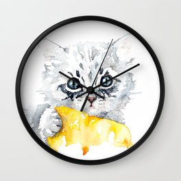 Kitten with a yellow blanket Wall Clock