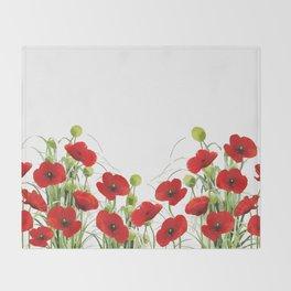 Poppy Mohn Flower Field Throw Blanket