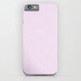 Japanese style geometric light pink waves pattern iPhone Case