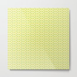 seamless pattern of sliced green apples with a yellow background  Metal Print
