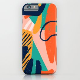 Creative doodle art header with different shapes and textures illustration pattern iPhone Case