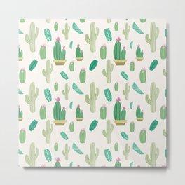 Ivory pastel blush green pink cactus floral Metal Print