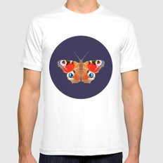 Geometric Butterfly Mens Fitted Tee MEDIUM White
