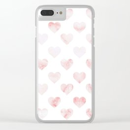 Pink Marble Hearts Clear iPhone Case