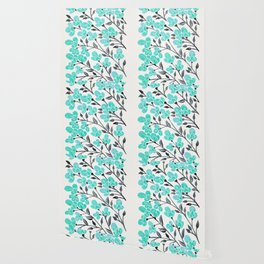 Cherry Blossoms – Turquoise & Black Palette Wallpaper