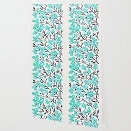 Cherry Blossoms – Turquoise & Black Palette Wallpaper