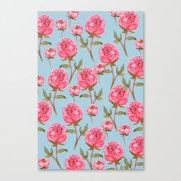 Pink Peonies On Blue Background Canvas Print