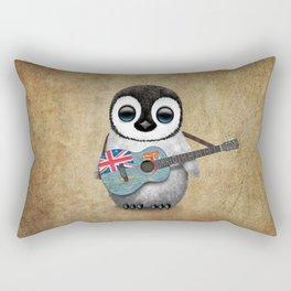 Baby Penguin Playing Fiji Flag Acoustic Guitar Rectangular Pillow