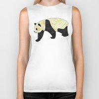 panda Biker Tanks featuring Panda by Ben Geiger