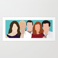 how i met your mother Art Prints featuring How I Met Your Mother by Rosaura Grant