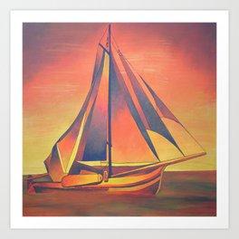 Sienna Sails at Sunset Art Print